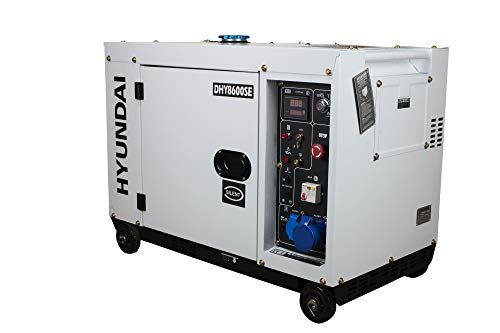 HYUNDAI Silent Diesel Generator, Stromerzeuger mit 6.5 kW (230 V) Leistung, Notstromaggregat für Baustellen,...
