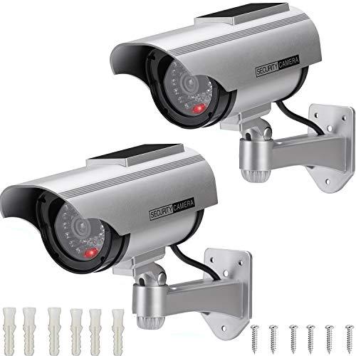 AlfaView Kamera Dummy Solarbetriebene Überwachungskamera Attrappe Fake Kamera Attrappe Dummy Kamera Attrappe...