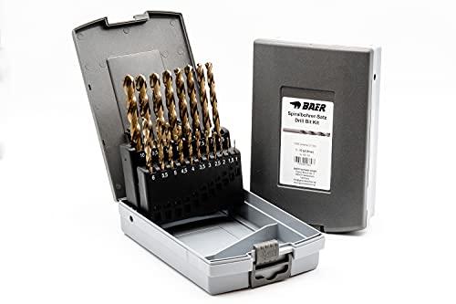 BAER HSSE Extrem-Bohrer Satz (0,5mm steigend) 1-10 mm   Spiralbohrer-Satz aus hochlegiertem HSSE/Cobalt Stahl...