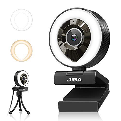 1080P Webcam mit Mikrofon, Full HD Facecam Live-Streaming Webcams mit Ringlicht, Stativ, 360° Schwenkradius...