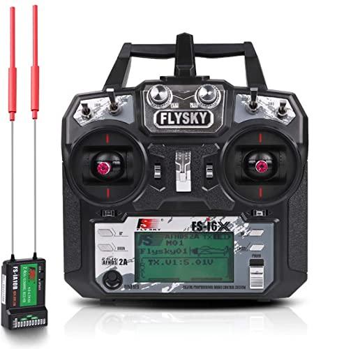 Flysky FS-i6X Sender (10CH, 2.4GHz, AFHDS 2A) RC Transmitter TX Mit iA10B Empfänger for FPV Racing RC Drone...