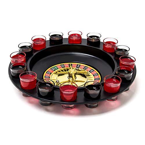 Relaxdays Roulette Trinkspiel, Partyspiel mit Drehrad, Schnapsgläsern & Kugeln, Roulettespiel für Partys,...