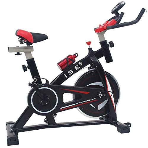 ISE Indoor Cycle Ergometer Heimtrainer mit LCD Anzeige,Armauflage,gepolsterte,8kg Schwungrad,Fitnessbike...