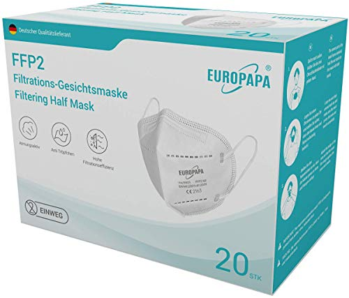 EUROPAPA 20x FFP2 Atemschutzmaske 5-Lagen Staubschutzmasken hygienisch einzelverpackt CE Stelle zertifiziert...