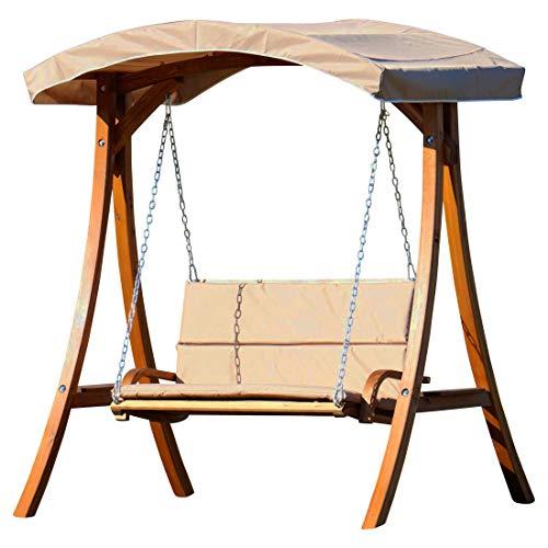 ASS Design Hollywoodschaukel Gartenschaukel Hollywood Schaukel aus Holz Lärche, Farbe:Braun