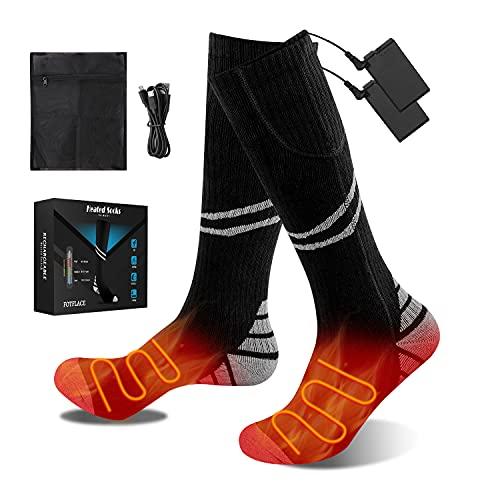 FOTFLACE Beheizte Socken für Herren Damen Beheizbare Socken mit 4200mAh Wiederaufladbare Batterie, 3...