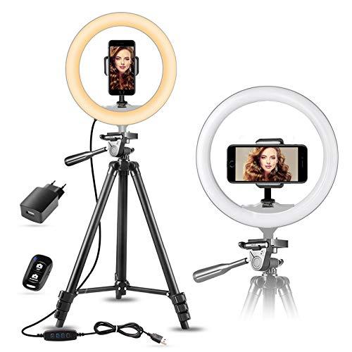 """10"""" Selfie Ringlicht mit 50"""" Ausziehbarem Stativ & Handyhalterungfür Make-up/Live-Streaming, Sunup LED..."""