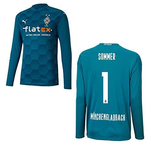 PUMA Borussia MÖNCHENGLADBACH Trikot Torwart Kinder 2021, Größe:128, Spielerflock (zzgl. 10.00EUR):1 Sommer