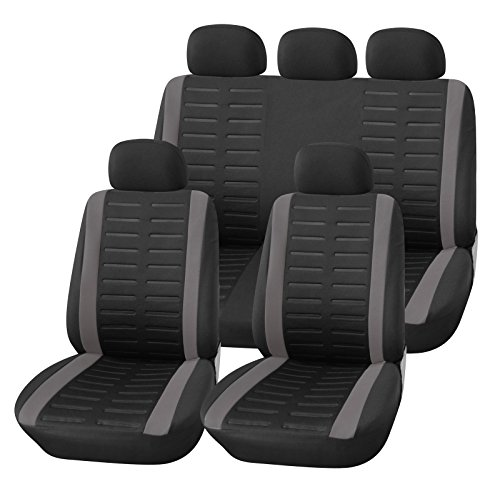 Upgrade4cars Auto-Sitzbezüge Set Universal | Auto-Schonbezüge Schwarz Grau mit Teilbarer Rückbank |...