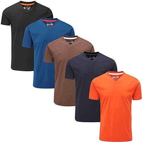 Charles Wilson 5er Packung Einfarbige T-Shirts mit V-Ausschnitt (Large, Grey Essentials)