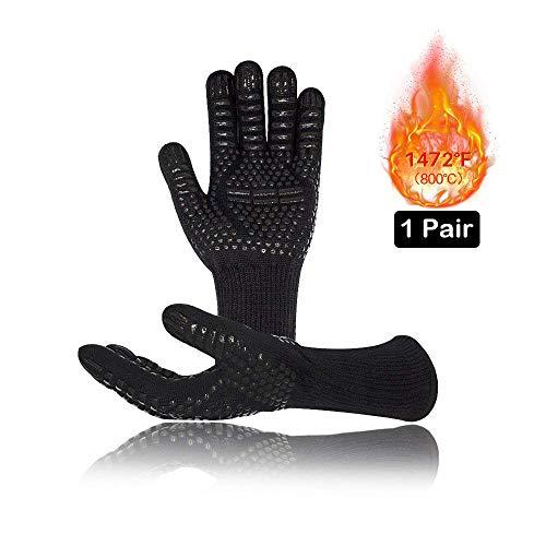 Vegena Grillhandschuhe, BBQ Kochenhandschuhe Hitzebeständig bis 800℃ Universalgröße 33CM Ofenhandschuhe...