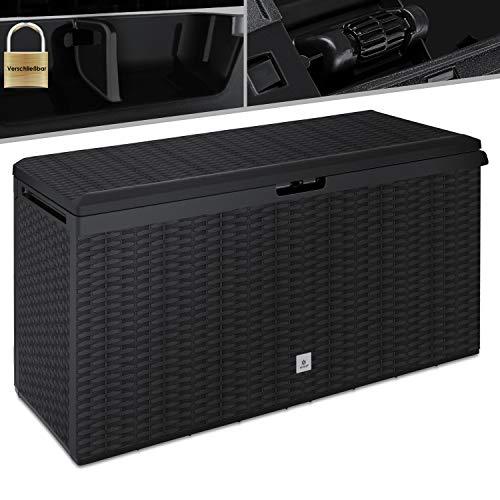 KESSER® Auflagenbox Kissenbox 290 Liter mit Rollen klappbarer Deckel Haltegriffe Rattanoptik Gartenbox...