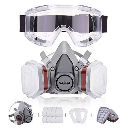 NASUM Halb Gesicht Abdeckung Wiederverwendbare, Serie Grau M401, mit Schutzbrille, Filter*2,...