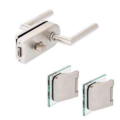 Glastürbeschlag'D' Set WC | V2A Edelstahl matt | inkl. Officebändern | metallische Innenmechanik (einwärts...