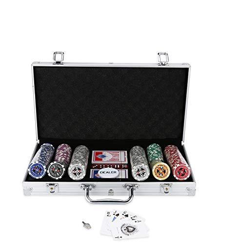 Hengda Pokerkoffer 300 Chips Laser Pokerchips Poker 11.5 Gramm , 2 Karten, Händler, 5 Würfel, mit...