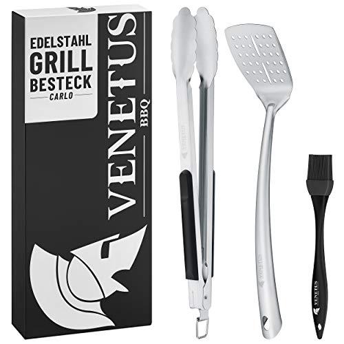 VENETUS-BBQ Grillbesteck Set aus Edelstahl - extra große Grillzange und Wender