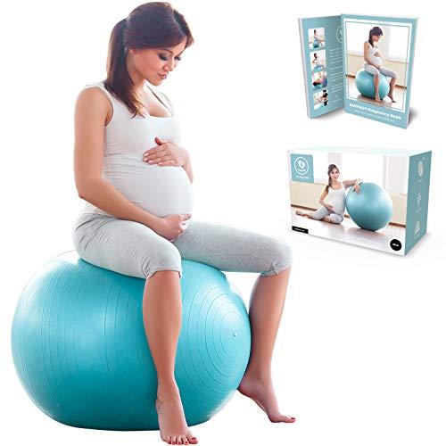 BabyGO Gymnastikball Schwangerschaft Sitzball Büro Schwangere Yoga Pezziball 65 cm 75 cm + 100 Seiten...
