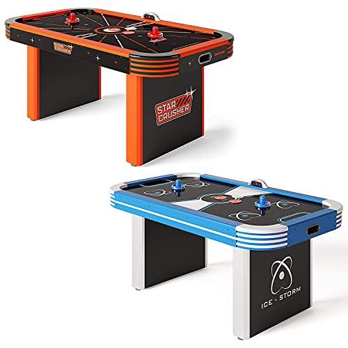 Sportime LED-Airhockey-Tisch 5,5 ft   LED Pucks und Pusher   Starkes Gebläse   Elektrozähler   In Zwei...