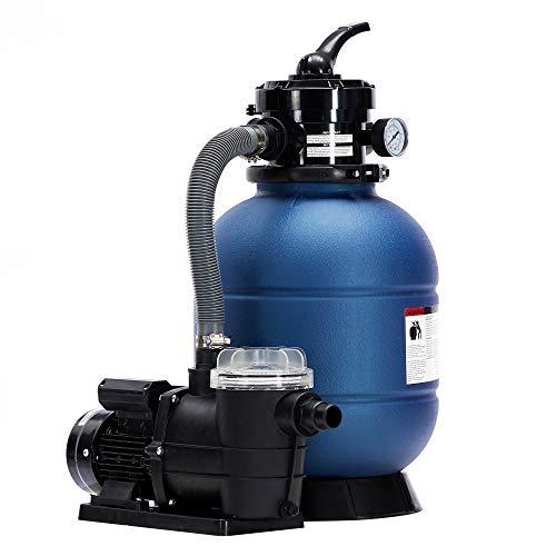 AREBOS Sandfilteranlage mit Pumpe | 400W | 10200 L/h | Tankvolumen bis zu 20 kg Sand | 4 - Wege Ventil mit...