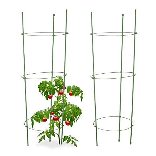 Relaxdays Rankhilfe Tomaten, 2er Set, Höhenverstellbare Ringe, Pflanzstäbe, Balkon, Beet, Kunststoff, 76 cm...