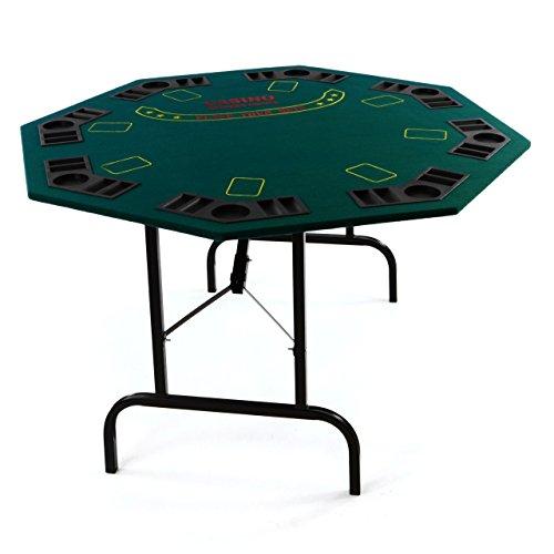 Nexos Profi Casino Pokertisch klappbar 8-eckig L 120 x B 120 x H 72 cm, Getränkehalter Chiptrays Pokerauflage...