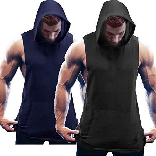 COOFANDY Herren Tank Top Ärmelloser Workout Sport Fitness Hoodie Muskelshirt für Gym Training 2er Pack Mix...