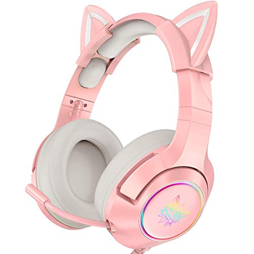 Pinkes Gaming-Headset mit abnehmbaren Katzenohren, geeignet für PS5, PS4, Xbox One (ohne Adapter), Nintendo...