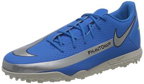 Nike Herren Phantom GT Club TF Soccer Shoe, Photo Blue/Metallic Silver-Rage Green-Black, 40 EU