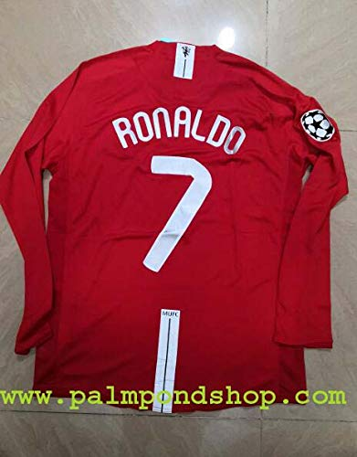 ADI Cristiano Ronaldo Retro Long Sleeve FINAL MOSCO Soccer Jersey Trikot Size L UCL. Patch