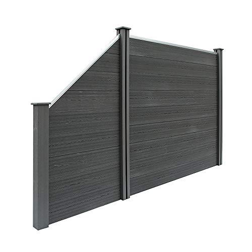 Home Deluxe - WPC Sichtschutzzaun V2 inkl. Pfostenträgern, Abdeckungen und Montagematerial - Anthrazit, 1 x...