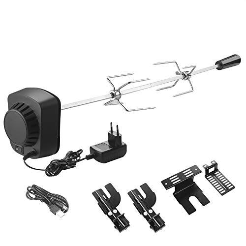 SHYOSUCCE Grillspieß Set mit 2 Fleischnadeln und Motor, USB Leitung und Adapter Verbindung, Elektrischer...
