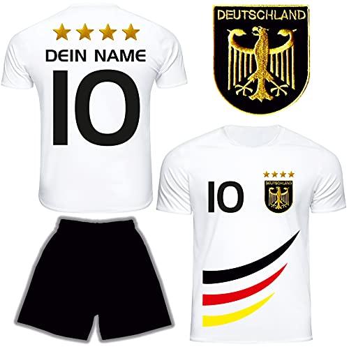 DE FANSHOP Deutschland Trikot mit Hose & GRATIS Wunschname + Nummer #D4 2021/2022 EM/WM Weiss - Geschenk für...