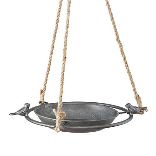 CasaJame Vogeltränke aus Zink zum Hängen D25cm mit 2 kleinen Vogel Figuren, Vogelbad für den Garten,...