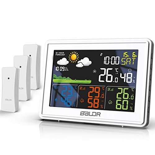 BALDR Wetterstation Funk mit 3 Außensensor Indoor Outdoor Thermometer Hygrometer mit Wettervorhersage, DCF...