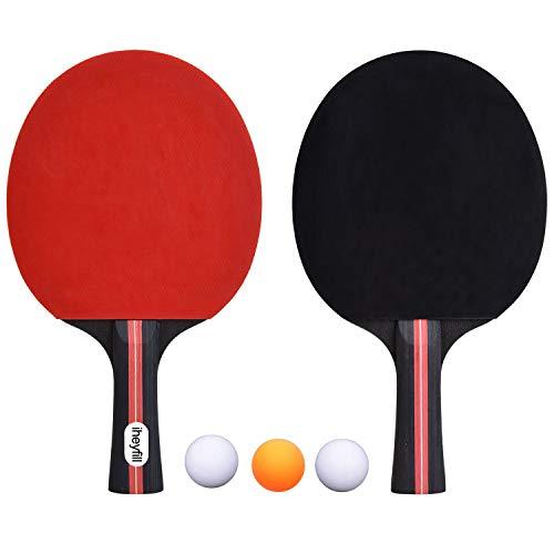 iheyfill Tischtennis-Set,Tischtennisschläger + 3 Tischtennis-Bälle + Tischtennisschlaeger...