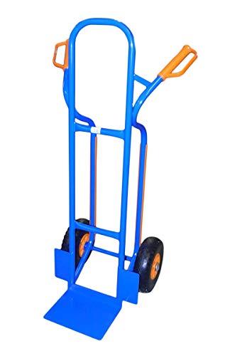 TRESTLES S04 Blau Sackkarre | Stahlgestänge | pannensicheres PU Rad | 250 kg Tragkraft | Treppenrutschkufen |...