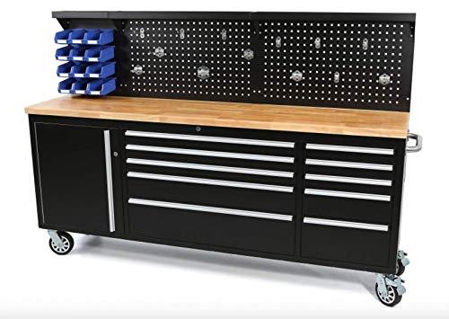 Werkbank mit Schubladen 215 cm Werkzeugwagen, fahrbare Werkbank mit Massivholzplatte inkl. Rückwand (Werkbank...