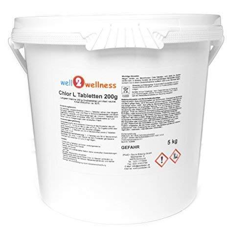 well2wellness Chlor L Tabletten 200g - langsam lösliche Chlortabletten a 200g mit 90% Aktivchlor, 5,0 kg