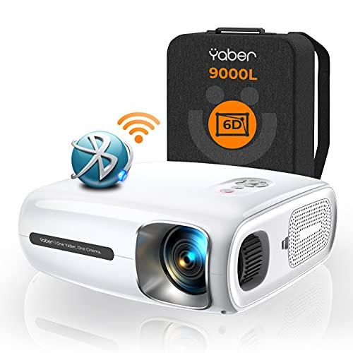 YABER 9000 Lumen Full HD 1080P Beamer WIFI Bluetooth 5G Beamer, mit 6D Auto Trapezkorrektur&4P/4D, Support...