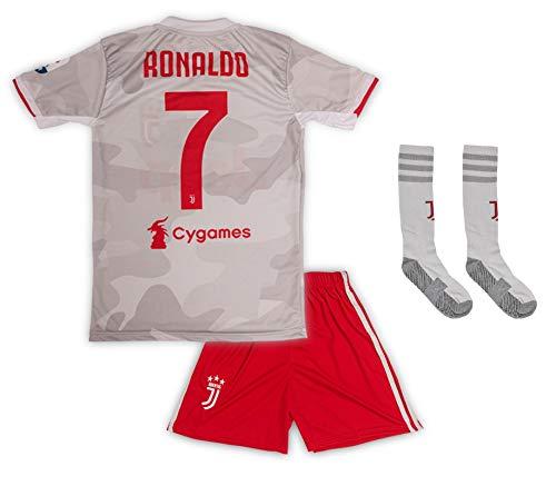 Juventus #7 Cristiano Ronaldo Trikot Set 2019-2020 Auswärts Kinder Fußball Trikot mit Shorts und Socken...