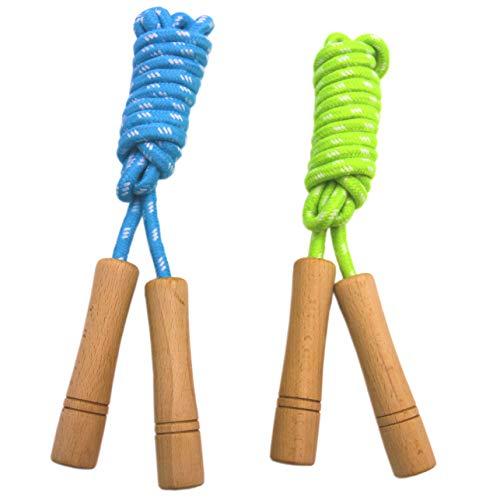Homello Verstellbare Springseil für Kinder, Springen Seil mit Holzgriff und Baumwollseil, ideal für Fitness...