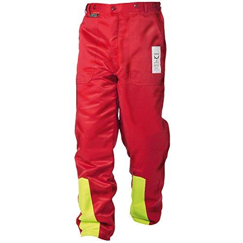 WOODSafe Schnittschutzhose Klasse 1, Forsthose, kwf-geprüft, Bundhose rot/gelb, Herren - Waldarbeiterhose mit...