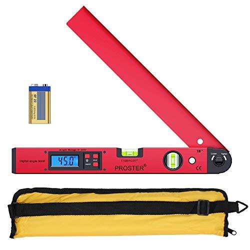 Proster Digitaler Winkelmesser 0-225 ° Digitaler Winkelmesser mit Wasserwaage und LCD Beleuchtetung 400 mm /...