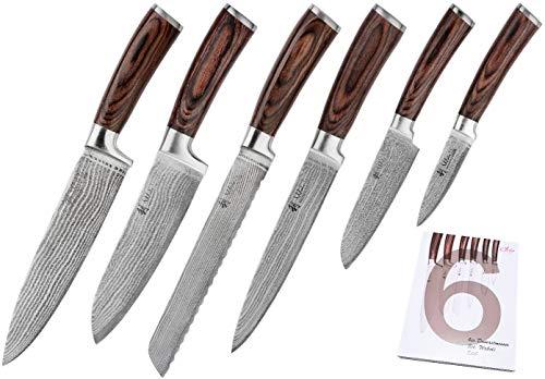 Wakoli 6er Damastmesser Profi Messerset mit Geschenkbox, VG-10, Klingen von 8,50 bis 20,50 cm Länge, sehr...