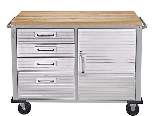 Seville Classics Fahrbare Werkbank mit 4 Schubladen, 121,9 x 50,8 x 95,2 cm, grau