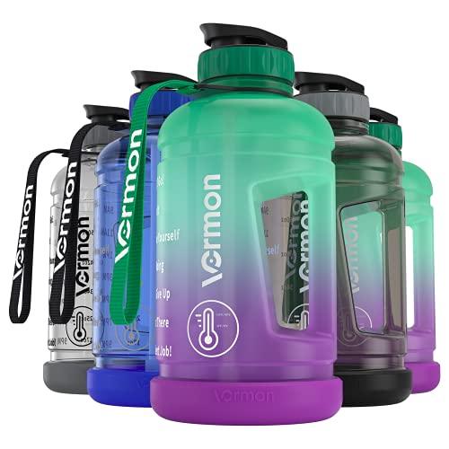 Trinkflasche Sport - 2.2 Liter Motivierende Wasserflasche mit Zeit und Strohmarker, Große Sportflasche, BPA...