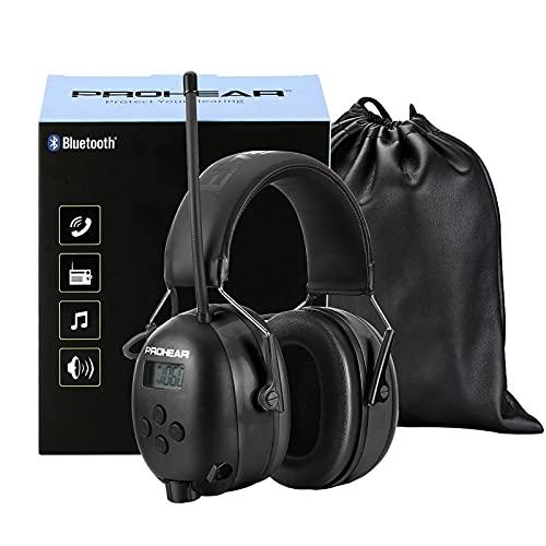 PROHEAR (Upgraded) Gehörschutz mit Bluetooth, LCD-Display, FM/AM Radio Wiederaufbare Ohrenschützer,...