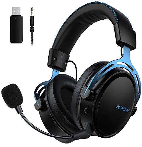 Mpow Air 2.4G Wireless-Gaming-Headset, Over-Ear-Gaming-Kopfhörer für PS4/PC/Mac/Switch, 3D-Sounds, Headset...