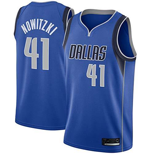Herren Retro Basketball Uniform NBA Dallas Mavericks 41# Nowitzki Sommersport Trikot, Basketballhemd...