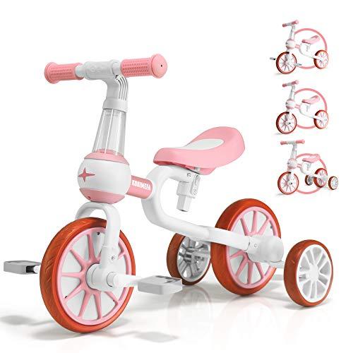 KORIMEFA 4 in 1 Laufräder Laufrad Kinderdreirad Dreirad Lauffahrrad Lauflernhilfe für Kinder ab 1 Jahre bis...